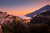 The Amalfi Coast at dusk as seen from the main terrace of Vietri sul Mare, Salerno, Campania, Italy, Europe
