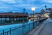 Dusk light along the river, Thun, Canton of Bern, Switzerland, Europe.