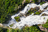 Aerial view of Acquafraggia Waterfall in spring. Valchiavenna, Valtellina, Lombardy, Italy, Europe.