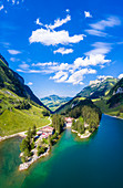 Aerial view of refuges and restaurants on the shore of Seealpsee, Canton of Appenzell, Alpstein, Switzerland, Europe