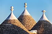 Detail of trulli roofs. Unesco World Heritage Site, Alberobello, Province of Bari, Apulia, Italy, Europe.
