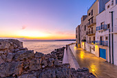 Sunrise on the seashore of Monopoli, Apulia, Italy, Europe.