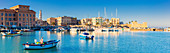 Panoramic view of the touristic port of Bari Vecchia, Apulia, Italy, Europe.