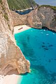 Blick auf den Navagio Beach, auch Shipwreck Beach, Zakynthos, Ionische Inseln, Griechenland, Europa