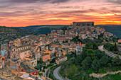 The enchanting hilltop city of Ragusa Ibla at dawn, Ragusa, Sicily, Italy