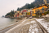 Snowy village of Varenna on Como lake, Lecco province, Lombardy, Italy