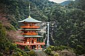 Nachi falls and pagoda, Nachisan, Japan