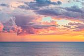 sunset on the Tyrrhenian Sea after a storm\nEurope, Italy, Lazio, Lavinio coastline