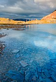 Bei laghetti lakes at Bormio 3000 with mtb in summer, Valtellina, Lombardy, Italy, Europe