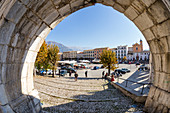 The square of the old town of Sulmona. Abruzzo, Italy, Europe