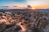 Landscape from the panoramic point of Red valley during sunset. Goreme, Capadocia, Kaisery district, Anatolia, Turkey.