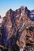 Burel wall, one of the highest of the Dolomites, seen fron Pala Alta. Dolomiti Bellunesi National Park, Belluno, Veneto, Italy, Europe.