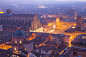 Elevated cityscape of Bologna old town from Asinelli tower by night. Bologna, Emilia Romagna, Italy, Europe.