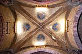 Frescoed ceiling inside the porch of Palazzo Podestà, Maggiore square, Bologna district, Emilia Romagna, Italy