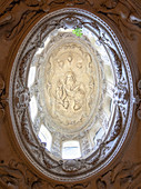 Skylight and rose window in side of Loreto Basilica, Loreto village, Ancona district, Marches, Italy