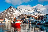 Boats in the port of Henningsvaer. Lofoten Islands. Norway.