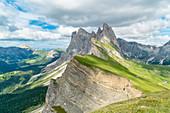 Seceda peaks in summer. Ortisei, Bolzano province, Trentino Alto Adige, Italy.