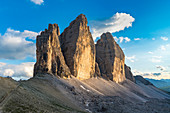 The Three Peaks of Lavaredo at sunset in summer. Sesto Dolomites, Trentino Alto Adige, Italy.