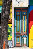 Multi coloured door and facade. El Caminito Street, La Boca district, Buenos Aires, Argentina.