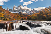 Autumn scenery with river and Fitz Roy range in the background. El Chalten, Santa Cruz province, Argentina.