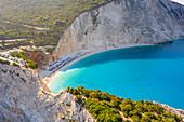 Aerial view of the beach of Porto Katsiki, Lefkada, Ionian Islands region, Greece.