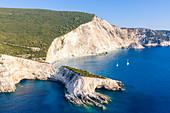 Arial view of the bay of Porto Katsiki, Lefkada, Ionian Islands region, Greece.