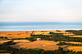 View of Siggen and the Baltic Sea from a hot air balloon, Ostholstein, Schleswig-Holstein, Germany