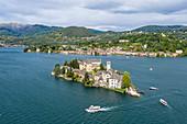 Aerial view of San Giulio Island and Orta San Giulio village at Lake Orta (Orta San Giulio, Lake Orta, Novara province, Piedmont, Italy, Europe)