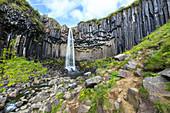 Svartifoss waterfall in Skaftafell Natural Reserve (Vatnajökull National Park, Eastern Region, Iceland, Europe)