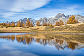 Colourful trees in autumn reflected in Sangiatto Lake and Boccareccio peak in the background, Alpe Veglia and Alpe Devero Natural Park, Baceno, Verbano Cusio Ossola, Piedimont, Italy, Europe