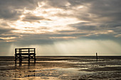 Winter mood on the beach of St. Peter-Bohl, North Sea, North Frisia, Germany