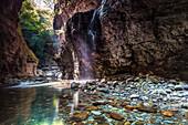 Wasserfall von Stretti di Giaredo, Pontremoli, Zeri, Massa Carrara, Lunigiana, Toskana, Italien, Südeuropa