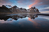 Reflections at Vestrahorn, Stokksnes peninsula, Hofn, Austurland, Iceland , Northern Europe