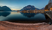 Lecco at blue hour, Lecco, Lombardy, Italy, Southern Europe