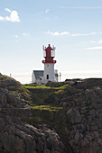 View of the lighthouse from Lindesnes Fyr, Skagerrak, Agder, Norway