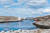 Blick über die Insel Nordöyan, Fischerdorf, Folda, Namdalen, Tröndelag, Norwegen