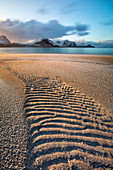 Haukland beach at sunset, Leknes, Lofoten, Nordland, Norway, Scandinavia, Northern Europe