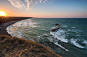 Elevated view of Trabocco Punta Aderci at sunset, Punta Aderci , Chieti, Abruzzo, Italy, Southern Europe