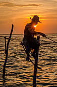Weligama, Matara District, Southern Province, Sri Lanka, Southern Asia. A Stilk Fisherman at sunset. Now abandoned in favor of more efficient contemporary forms of fishing, sitting on these stilts has been for centuries the most common way to catch fish on the shores of South Sri Lanka.