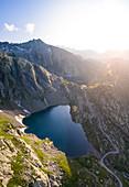 Aerial view of the lakes around Naret, in particular Lago Superiore and Lago del Sassolo in Lavizzara Valley at sunrise, Maggia Valley, Lepontine Alps, Canton Ticino, Switzerland.