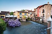 View of the medieval town of Borghetto sul Mincio. Valeggio sul Mincio, Verona, Veneto, northern Italy, southern Europe.
