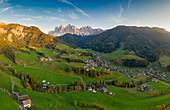Aerial view of Santa Magdalena, Funes, Bolzano Province, Trentino Alto Adige, Italy