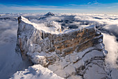 Winter aerial view of Monte Pelmo Zoldo Dolomites Province of Belluno Veneto Italy Europe