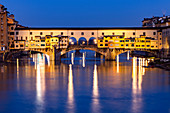 Ponte Vecchio at blue hour, Florence, Tuscany, Italy, Europe