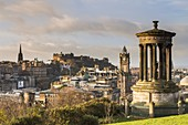 United Kingdom, Scotland, Edinburgh, listed as World Heritage Site by UNESCO, view on the city from the Dugal Stewart Monument on Calton Hill