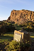 United Kingdom, Scotland, Edinburgh, listed as World Heritage Site by UNESCO, cliff in Holyrood Park