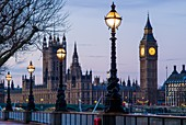 England, London, Victoria Embankment, Houses of Parliament and Big Ben, dawn