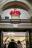 England, London, St James, Fortnum and Mason store, entrance with Royal Crown