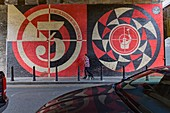 United Kingdom, London, Shoreditch district mural It takes millions of sedation by Shepard Fairey