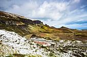 United Kingdom, Scotland, Highlands, Inner Hebrides, Isle of Sky, Trotternish Peninsula, the iconic landscape of Quiraing in Winter
